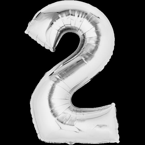 Zahlenballon XXL Silber 2