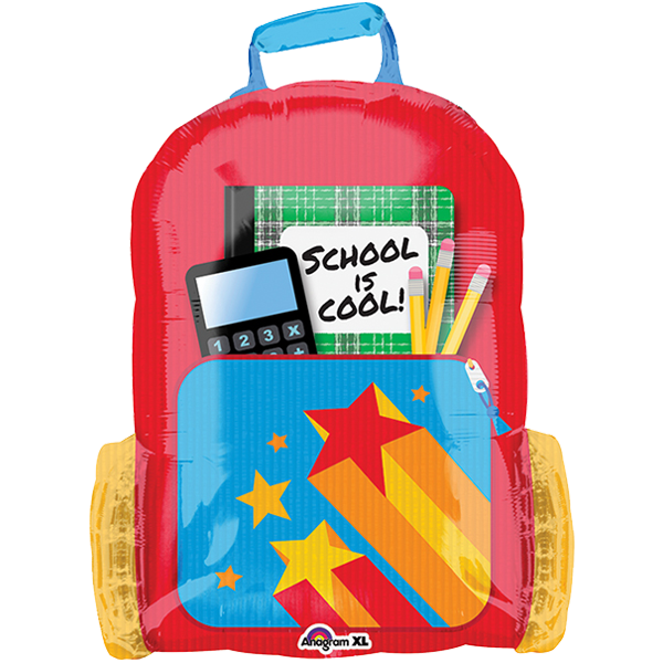 1 Folienballon - Ø 66cm - School is Cool- Schulrucksack